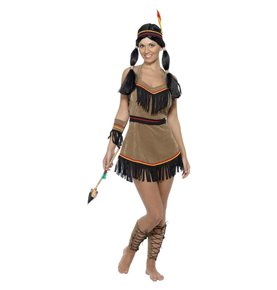 Native American Inspired Woman Costume, Brown