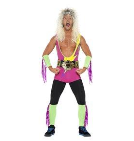 Retro Wrestler Costume, Multi-Coloured