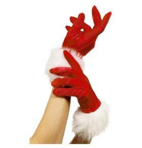 Santa Gloves, Red