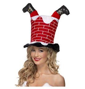 Santa Stuck in Chimney Hat, Red