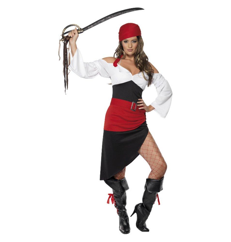 Sassy Pirate Wench Costume with Skirt, Black