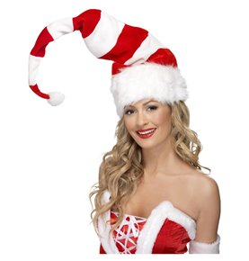 Striped Santa Hat, Red & White