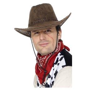 Suede Look Cowboy Hat, Brown