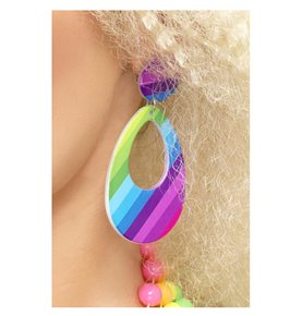 Teardrop Earrings, Neon Multi-Coloured