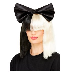 Two Tone Popstar Wig, Black & White