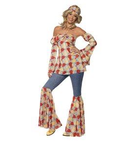 Vintage Hippy 70s Costume, Multi-Coloured