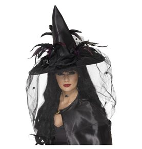 Witch Hat, Feathers & Netting, Black