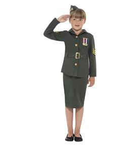 WW2 Army Girl Costume, Khaki Green