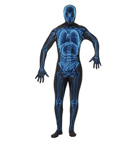 X Ray Costume, Second Skin Suit, Blue & Black