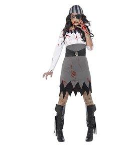 Zombie Pirate Lady Costume, Grey