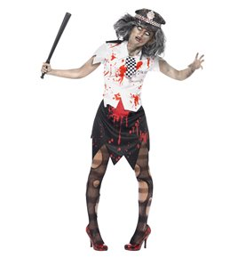 Zombie Policewoman Costume, Black & White